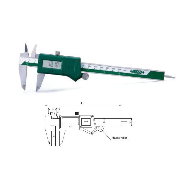 """Suwmiarka elektroniczna ze śrubą i rolką 150 mm / 0-6"""" DIN 862 IP67 INSIZE  (1118-150B)"""